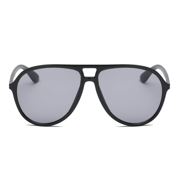 Retro Oversized Aviator Sunglasses - Black - Havana86