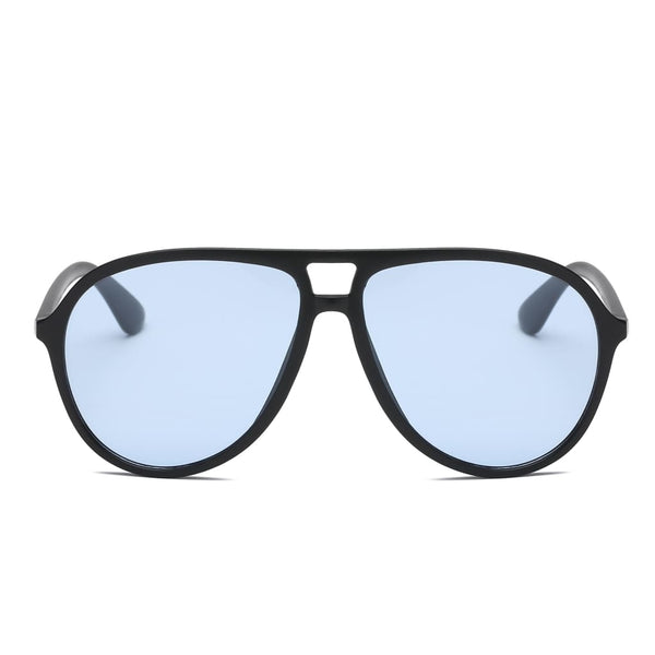 Retro Oversized Aviator Sunglasses - Blue - Havana86