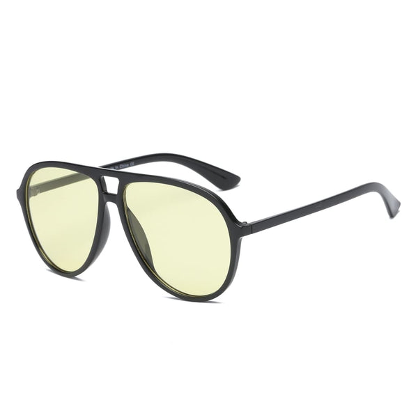 Retro Oversized Aviator Sunglasses - Yellow - Havana86