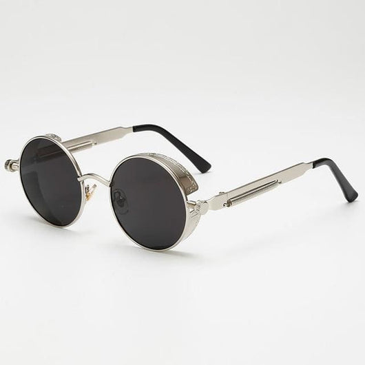Retro Round Sunglasses - Black/Silver - Havana86