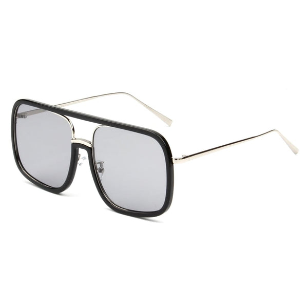 Retro Vintage Flat Lens Oversized Sunglasses - Grey - Havana86