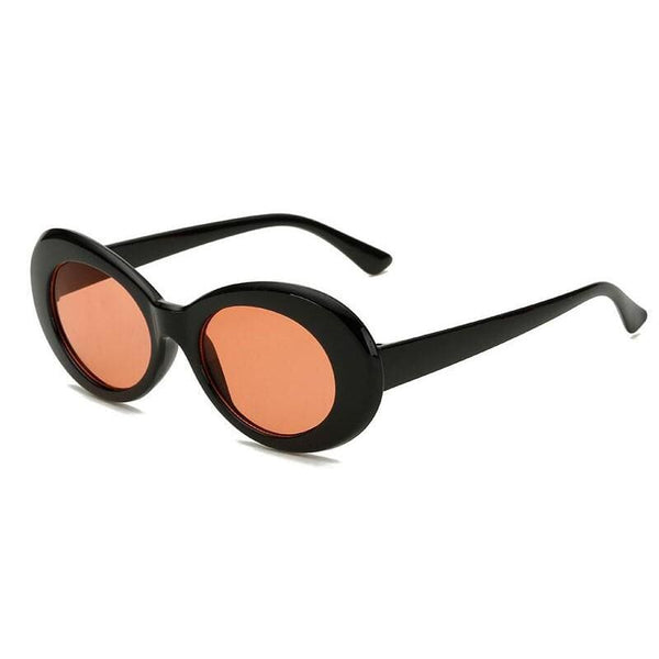 Vintage Style Chunky Oval Sunglasses - Black/Orange - Havana86