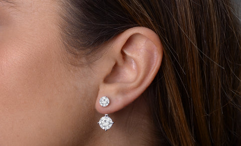 Cubic Zirconia Double Stud and Halo Hook Earrings