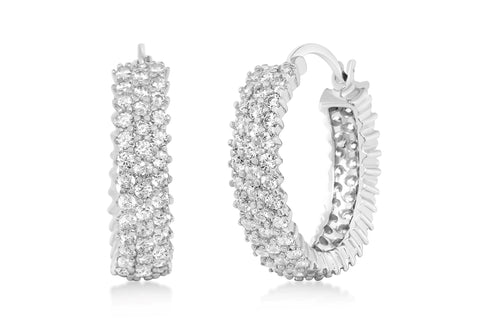 Cubic Zirconia Prong Hoop Earrings in Plated Sterling Silver