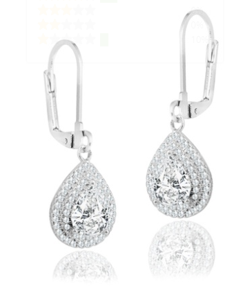 Double Halo Pear Drop Earrings Made with Swarovski Crystals