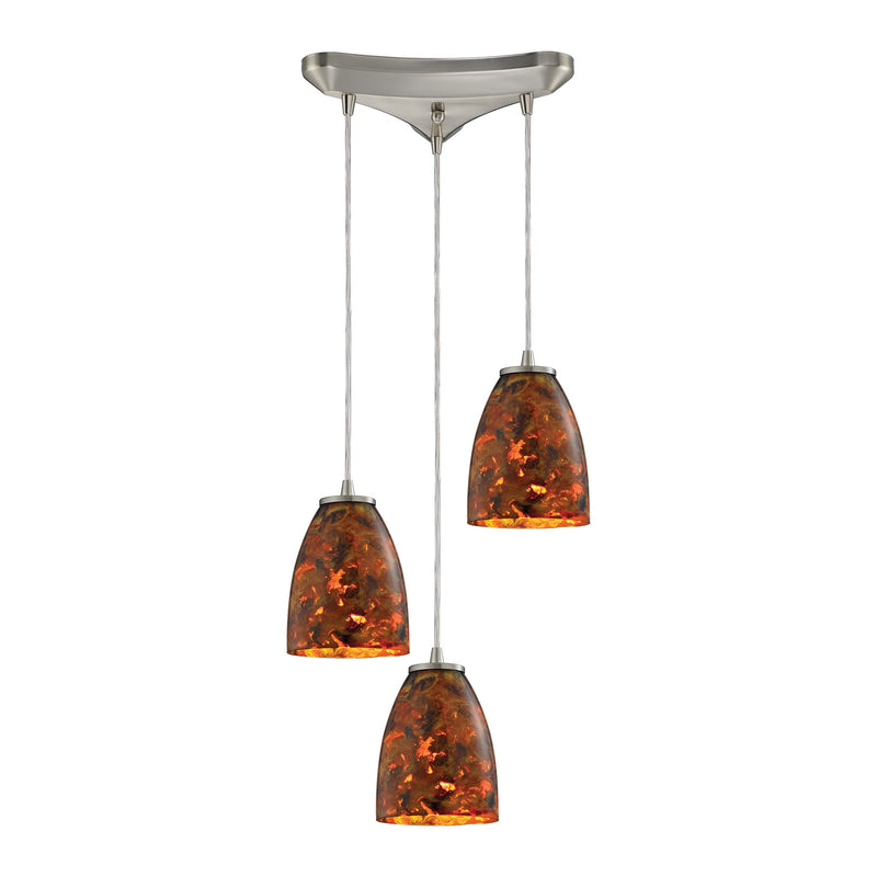 Abstractions 3 Light Pendant In Satin Nickel - Satin Nickel