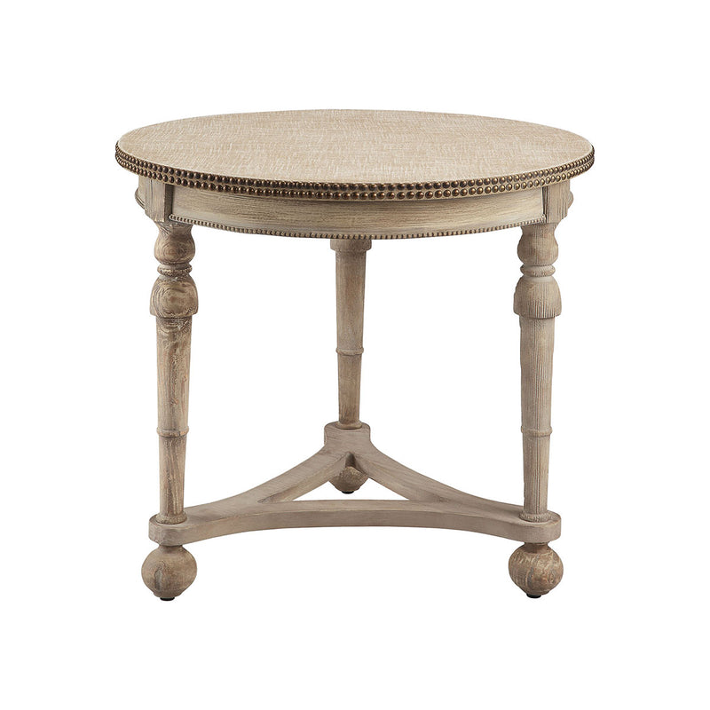 Wyeth Accent Table in Antique Cream,Double Brass