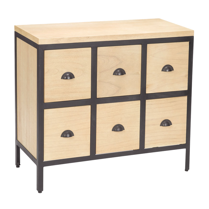 6 Drawer Chest With Iron Frame - Black