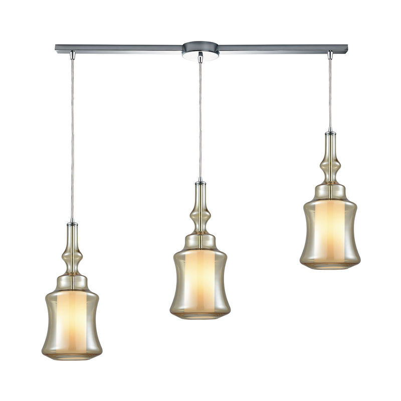 Alora 3 Light Linear Bar Pendant In Polished Chrome With Opal White Glass Inside Champagne Plated Glass - Polished Chrome