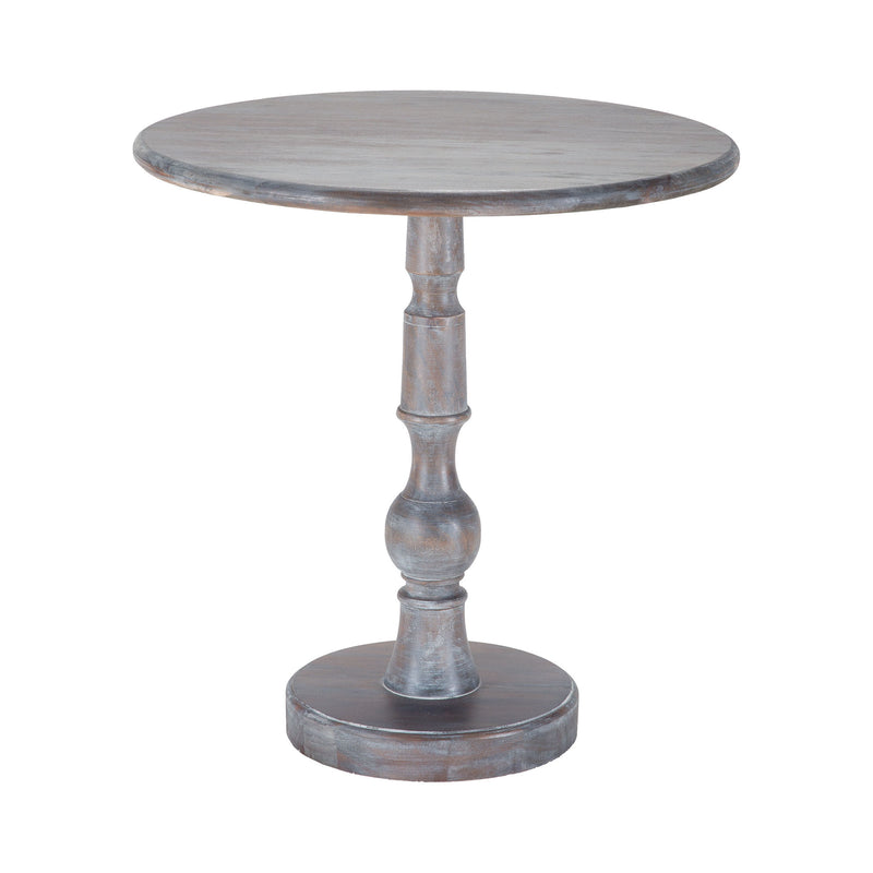 Acanthus Post Side Table In Waterfront Grey Stain With White Wash - Waterfront Grey Stain