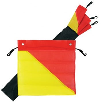 4 Red & Yellow Oversize Load Flags with bag