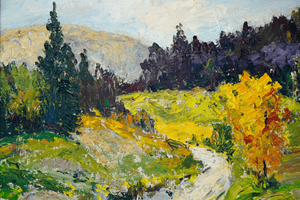 Canadian Lincoln Godfrey Morris 1887-1967 Country Lane painting