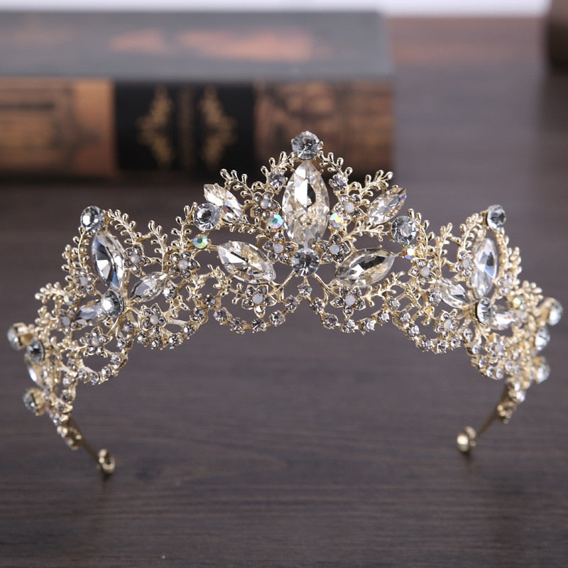 Baroque Diamond Crystal Crown/Tiara (Multiple Designs & Colors)