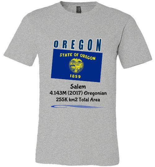 Oregon State Shirt - Flag, Capital, Population, Resident's Name, Total Area - Unisex - Athletic Heather