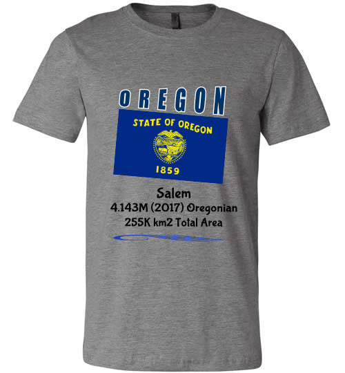Oregon State Shirt - Flag, Capital, Population, Resident's Name, Total Area - Unisex - Deep Heather
