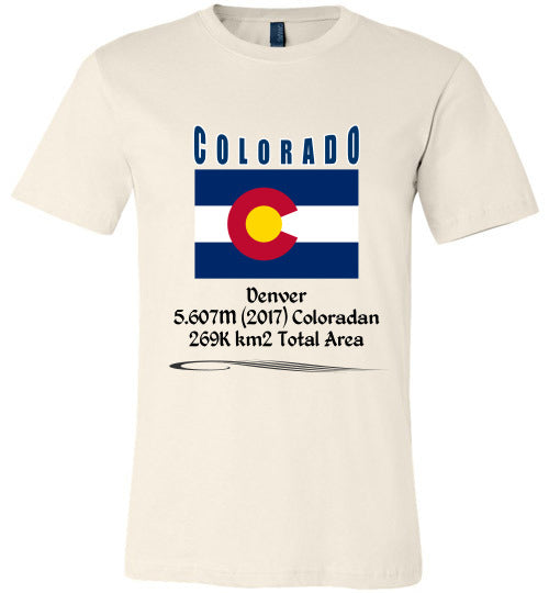 Colorado State Shirt - Flag, Capital, Population, Resident's Name, Total Area - Unisex - Soft Cream