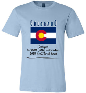 Colorado State Shirt - Flag, Capital, Population, Resident's Name, Total Area - Unisex - Light Blue