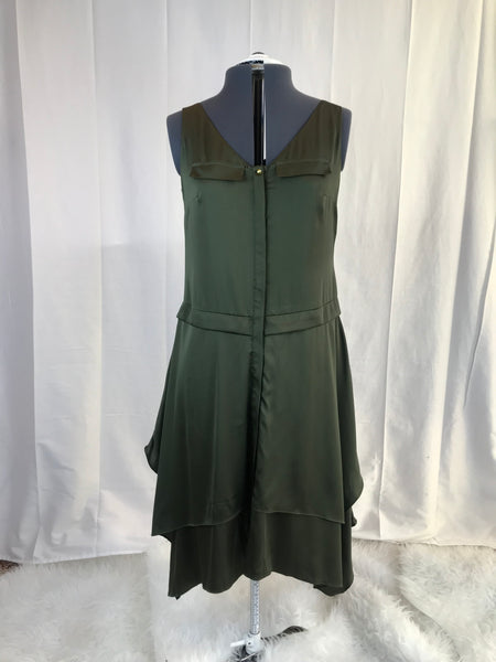 Vintage - Worthington - Green Layered Dress with Gold Buttons - Sz 6