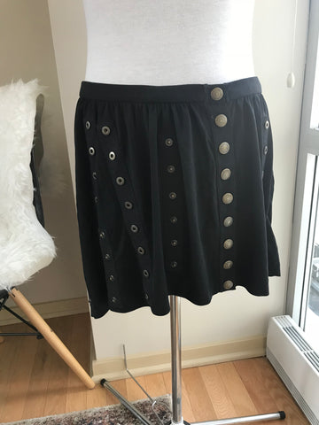 Dolce & Gabbana - **Vintage*** Black Mini Skirt with Button Detailing - Sz 44/Large - HEART 'n' SLEEVE