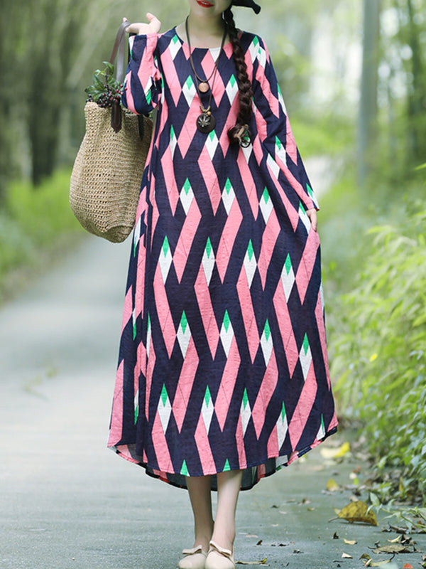 Linen Casual Printed Casual Dress