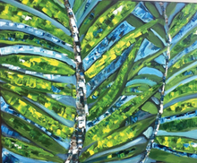 Magic Palms Leaves, by Madelaine Morel, Oleo with Spatule on Canvas