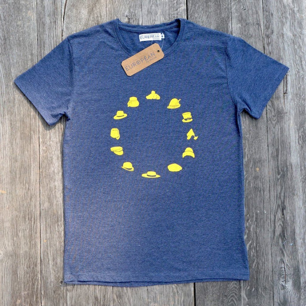 EUROPEAN Hats T-Shirt for men overview with hang tag and neck label on wooden background