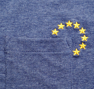 EUROPEAN T-Shirt with small stars embroidered next to pocket UNISEX close up from the stars next to its pocket pocketstars from the front