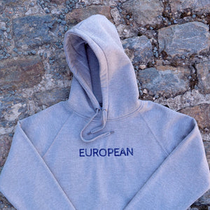 EUROPEAN Hoodie Unisex - Blue on grey statement - European By Choice