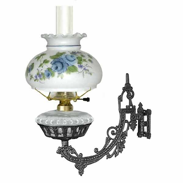 Bracket Lamp, Electric, Clear Font - Blue Rose Shade - paxton hardware ltd