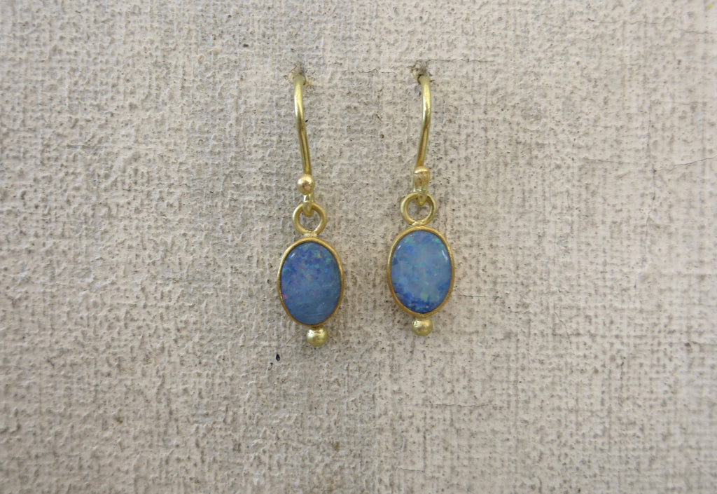 Opal and Gold Droplet Earrings