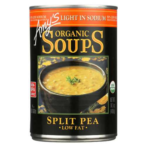 Amy's Organic Low Salt Split Pea Soup - Case of 12 - 14.1 oz