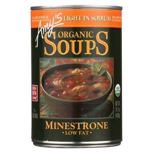 Amy's Organic Low Sodium Minestrone Soup - Case of 12 - 14.1 oz
