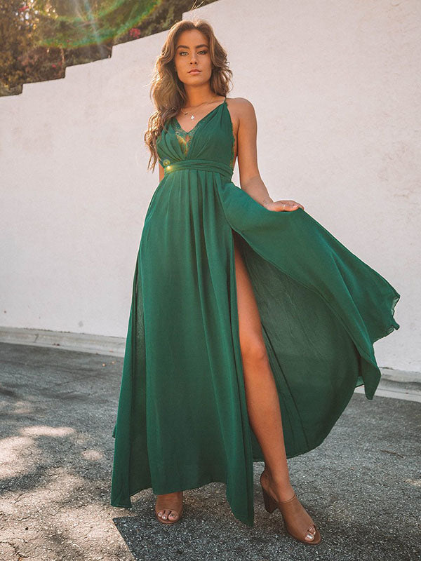 Lace Split-joint Backless Maxi Dress