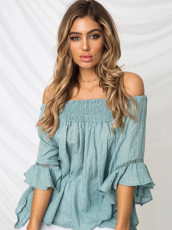Solid Color Off-the-shoulder Backless Falbala Blouses&shirts Tops