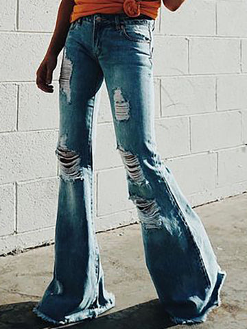 Elastic Embroidered Ripped Pencil Jean Pants Bottoms
