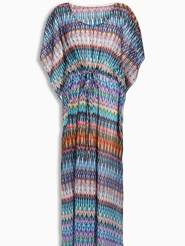 Pretty Colorful Half Sleeve Bohemia Maxi Beach Dress