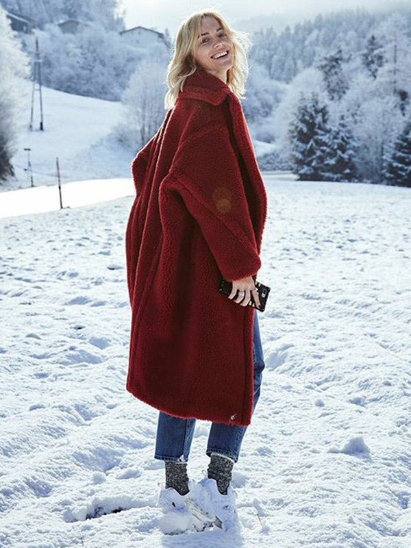 Lamb Wool Winter Long Sleeve Coat Tops