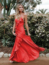 Sexy Spaghetti-neck Backless Solid Colors Maxi Dress