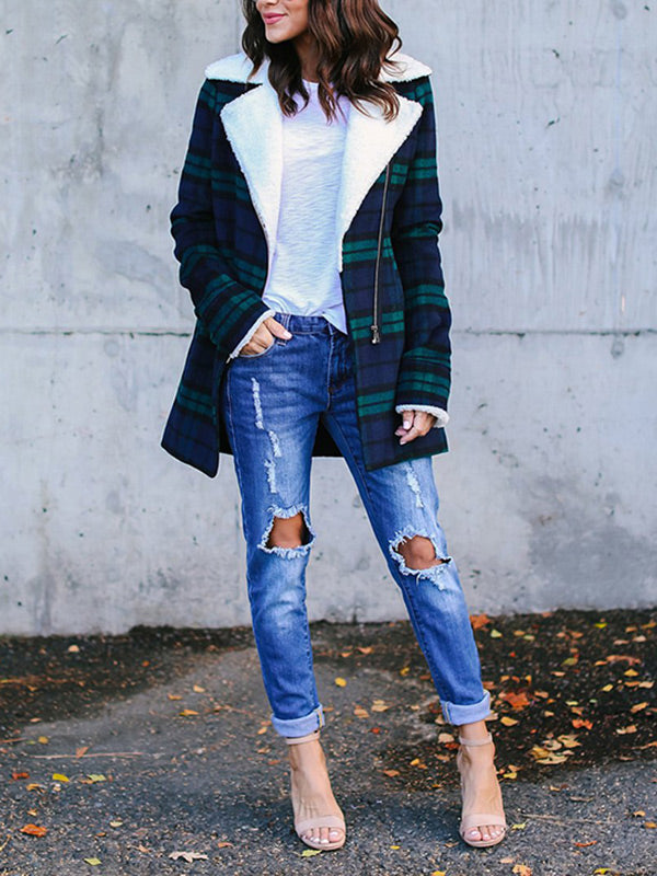 Vintage Checked Winter Coat Tops
