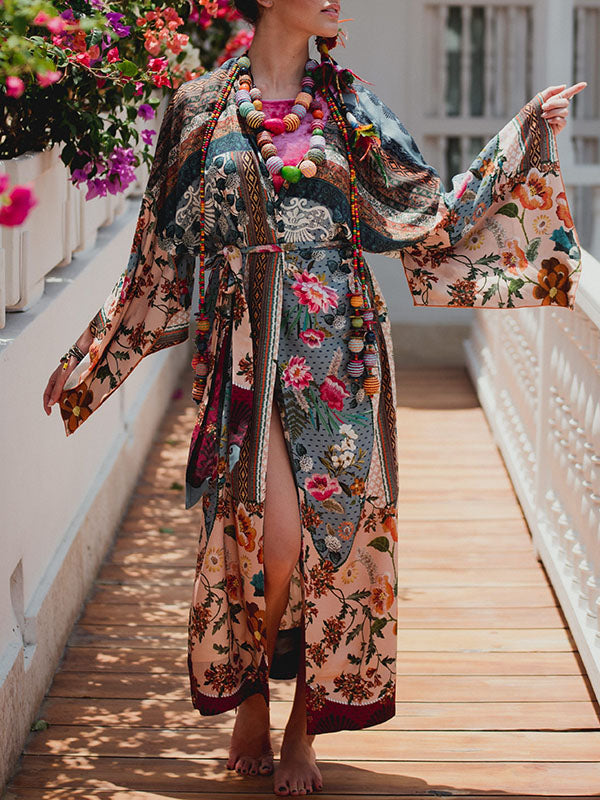 Vacation Long Bikini Belted Cover-Ups