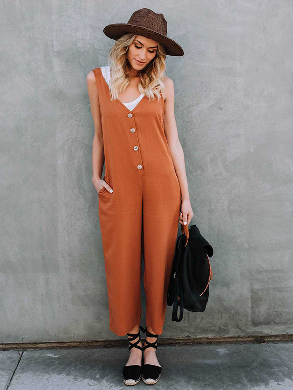 Solid Colors Spaghetti-neck Wide Leg Long Jumpsuits