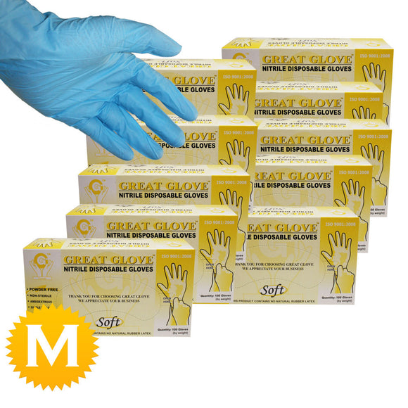 Nitrile Powder Free Soft Gloves - Size Medium - 1000 Gloves