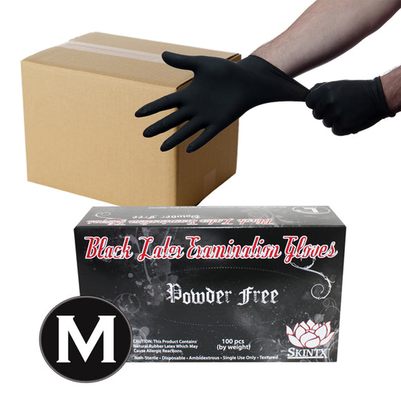 Black Latex Powder Free Medical Exam Tattoo Piercing Gloves - Size Medium - 1000 Gloves