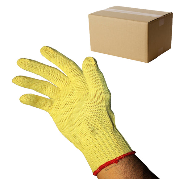 144 pairs Level 2 Cut Resistant 7 Gauge Yellow 100% KEVLAR Knit Gloves - Size Large