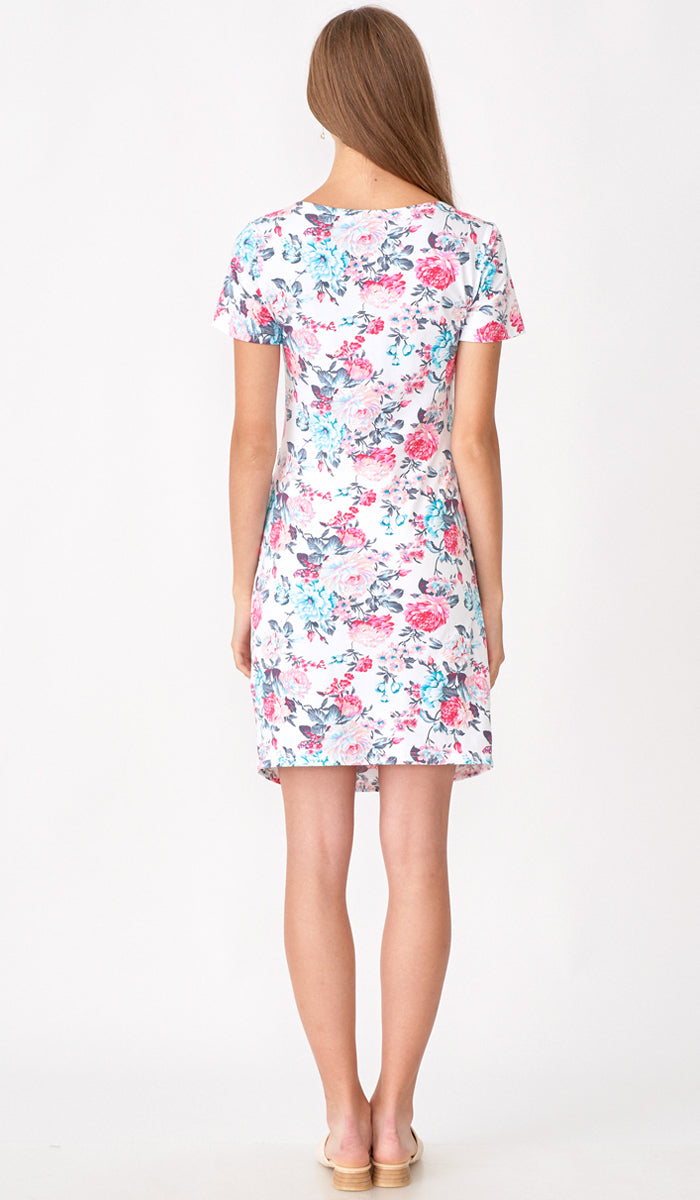 SALE - EVELYN FLORAL RUCHED BODYCON WHITE