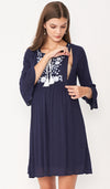 ISLA EMBROIDERED NURSING DRESS NAVY