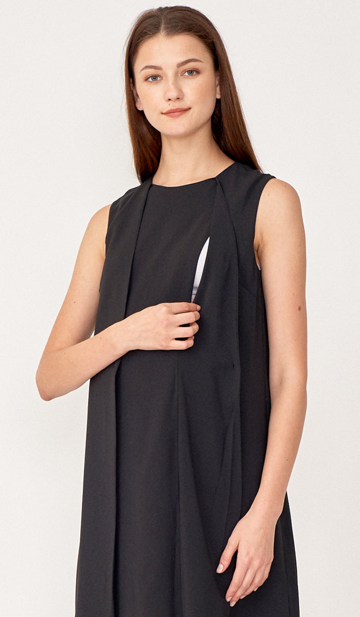 TARA NURSING VEST DRESS BLACK