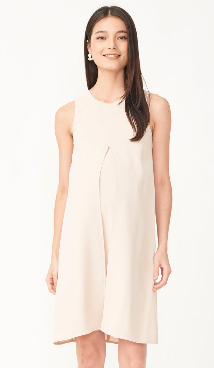 ELLA SPLIT HEM DRESS KHAKI