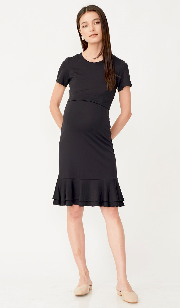 KELLY FLOUNCE NURSING DRESS BLACK