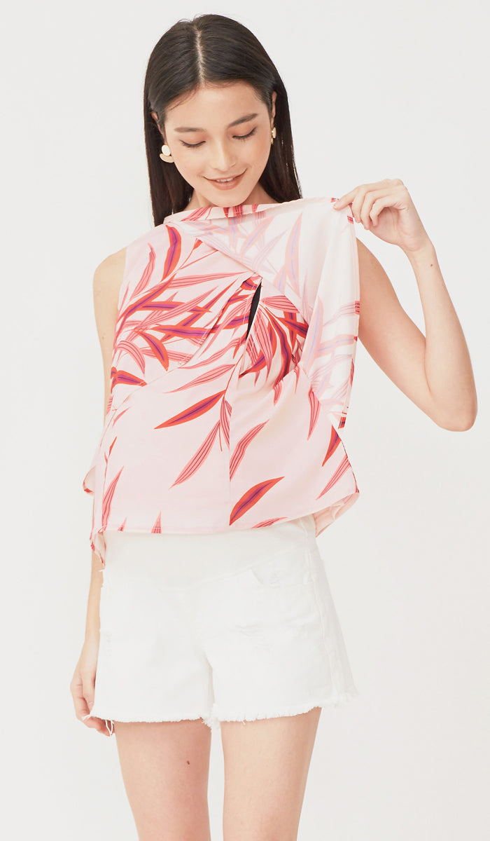 LORNA LEAVES NURSING TOP PINK